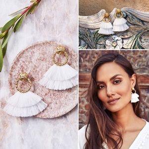 For love & lemons white fringe earrings